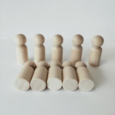Peg Dolls, Set of 10