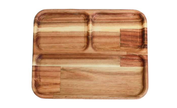Short Rectangle Divided Wooden Tray