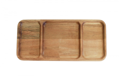 Long Rectangle Divided Wooden Tray