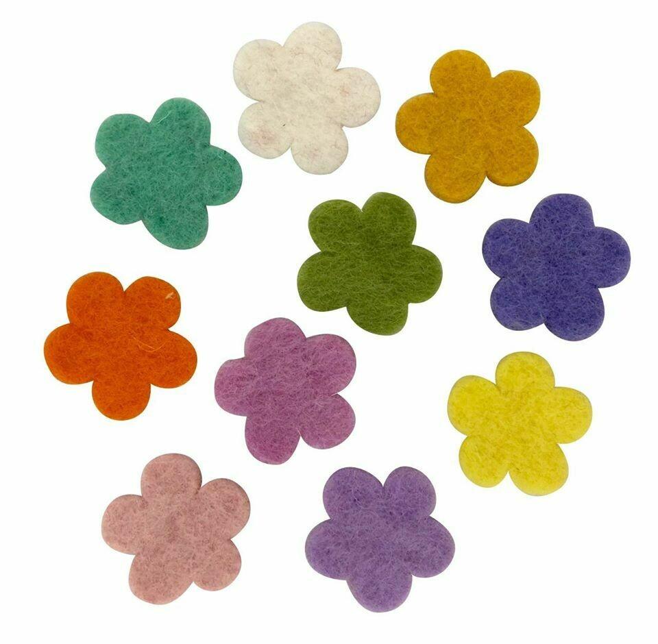 Wool Felt Flowers - Light Tones 3.5cm