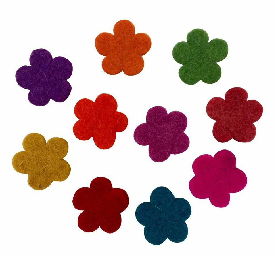Wool Felt Flowers - Dark Tones 3.5cm