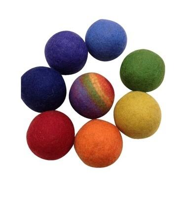 Extra Large Rainbow Felt Balls, set of 8