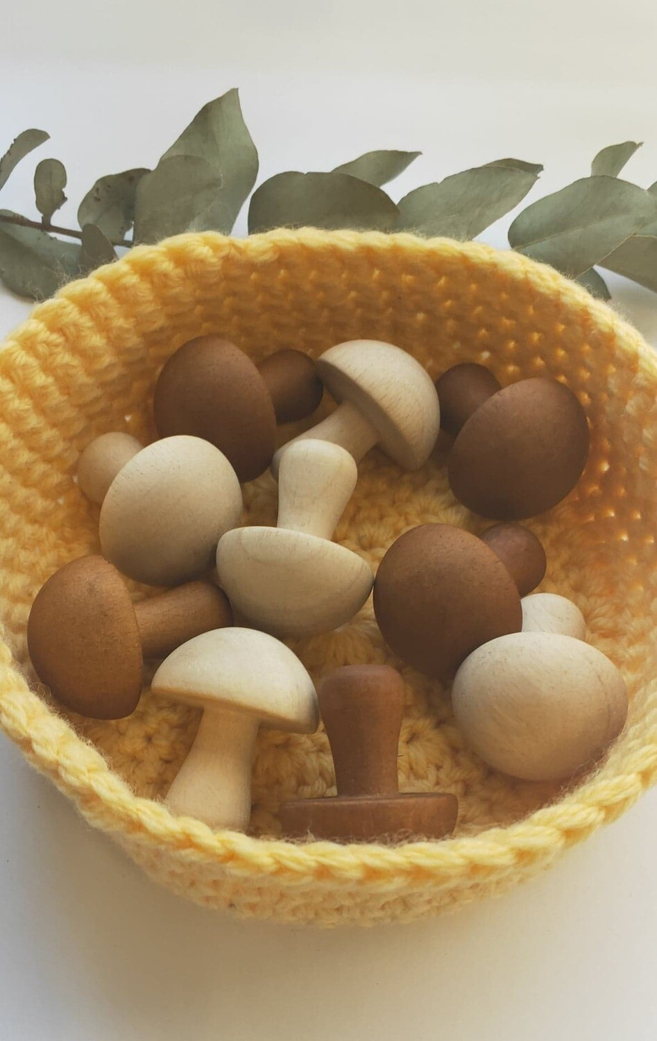 Small Wooden Mushrooms, 2 Colours, set of 10