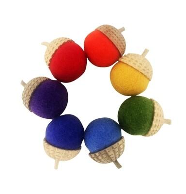 Felted Acorns, Rainbow, set of 7