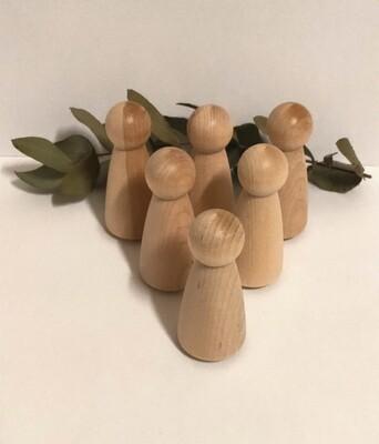 Large Wooden Peg Doll, 'Mama', set of 6
