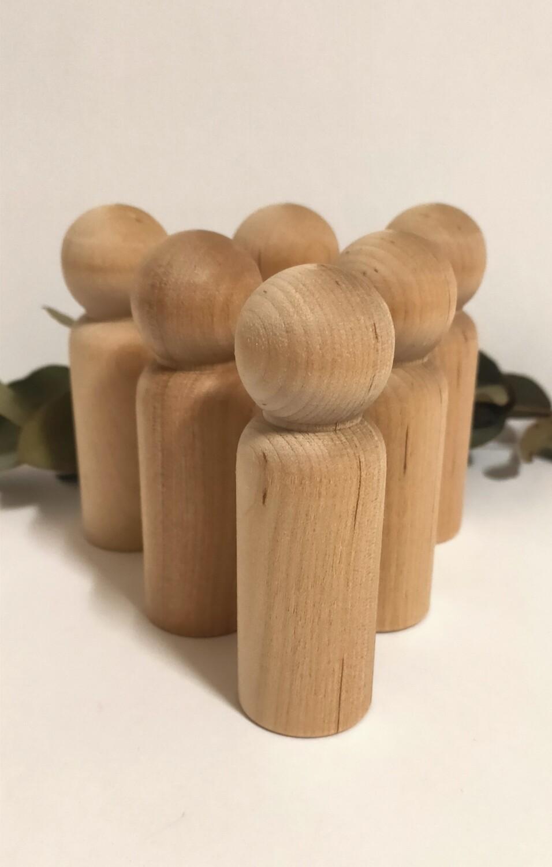 Large Wooden Peg Doll, 'Papa', set of 6