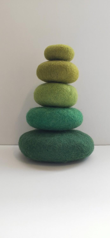 Felt Stacking Stones, Green