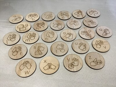 Auslan Alphabet Lowercase Wooden Discs