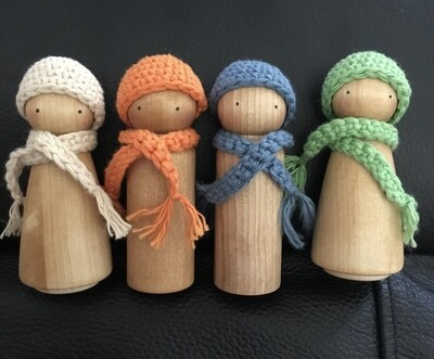Peg doll 9cm beanie and scarf sets