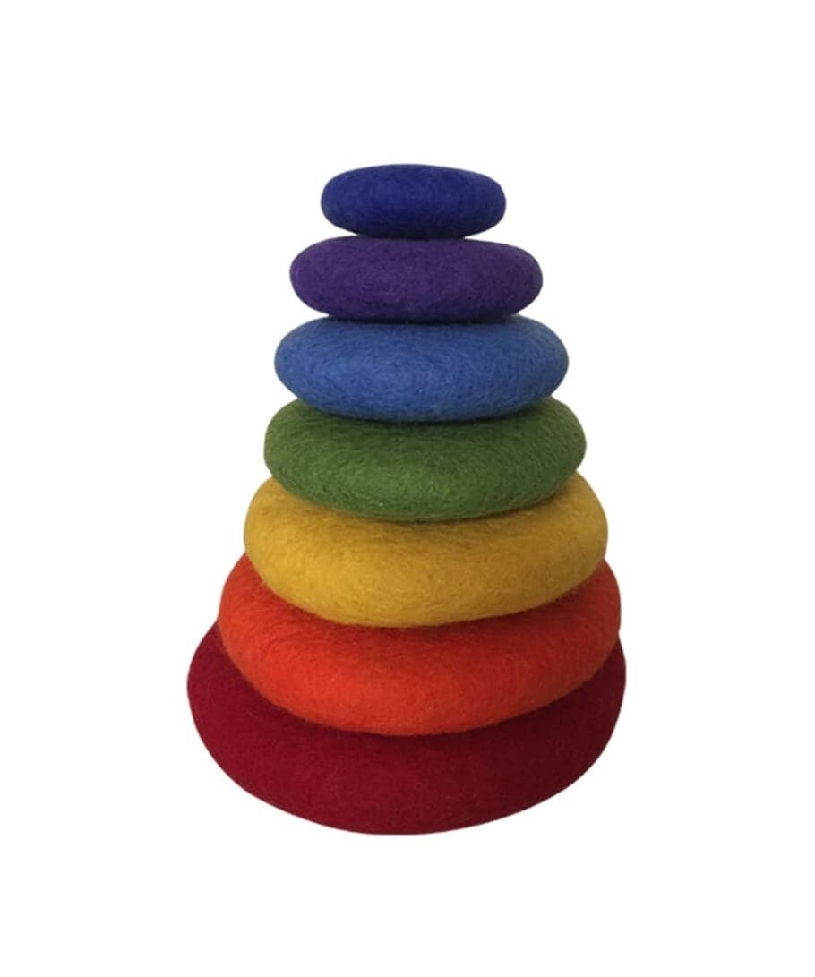 Rainbow Felt Stacking Stones,7pcs