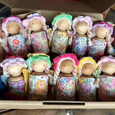 Mixed Pack Of 10 x Liberty Floral Print Fabric Wooden Peg Doll Fairies ( Colours And Styles Chosen At Random )