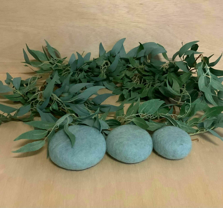 Felted Earth Pebbles,Blue,3pcs
