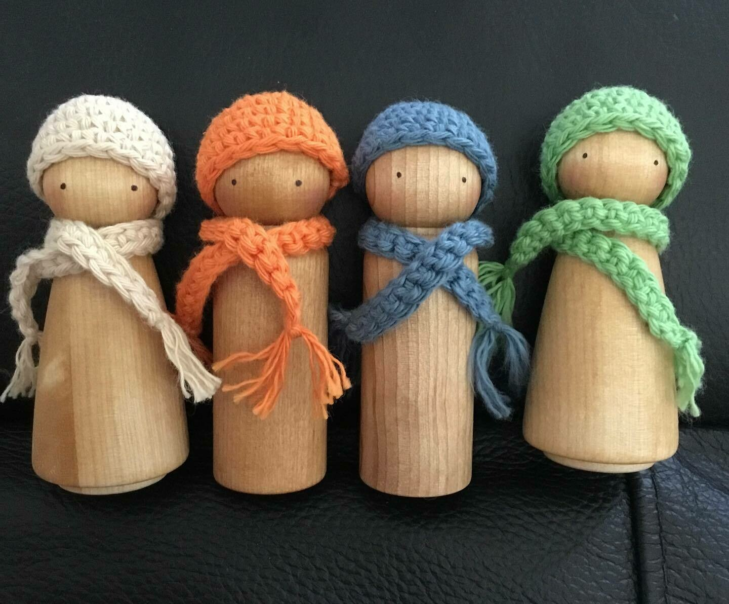 Beanie and scarf sets for a 9cm peg doll