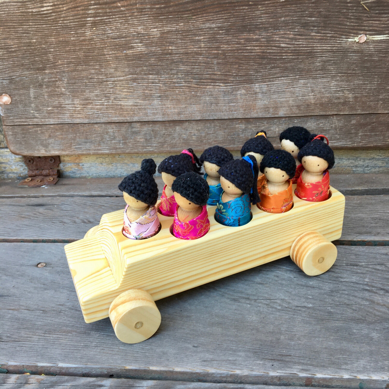 Wooden School Bus - Multicultural Asian Theme