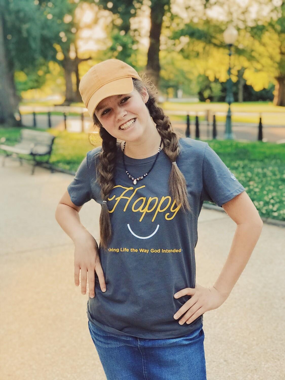 Women's Gray Happy t-shirt