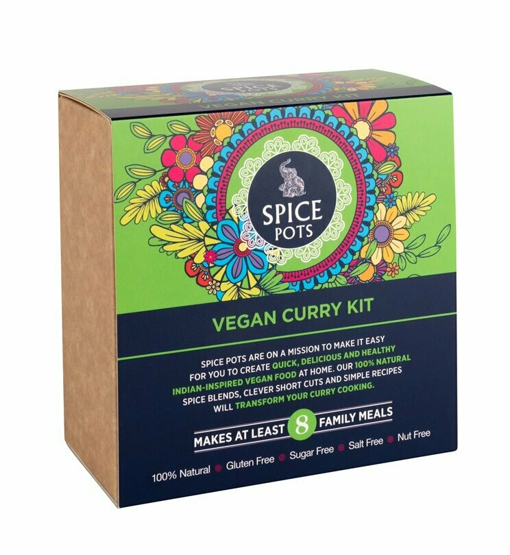 Spice Pots Vegan Curry Kit (4 Spice Blends And A Recipe Booklet)