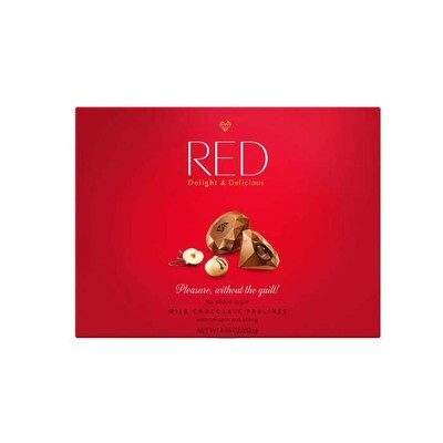 Red  Milk chocolates Pralines with nut filling