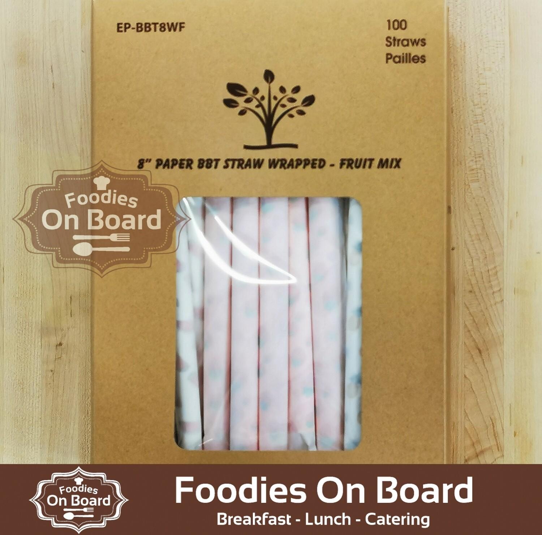 "8"" individually wrapped Papper Bubble Straws (100 per box) / 波霸奶茶独立包装 纸吸管 (1盒100支)"