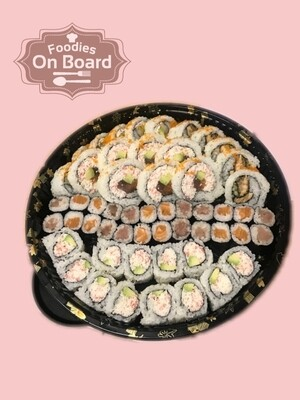 Assorted Sushi Platter 寿司拼盘(California Roll 12pc,Salmon Maki 12pc,Tuna Maki 12pc,Dynamite Roll 5pc,BC Rolls 5pc,House Roll 6pc)