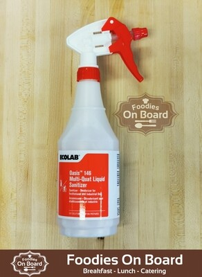 Food Safe Multi-Quat Sanitizer with Spray Bottle(750ml) / 食物安全、免洗Multi-Quat 消毒液连喷壶