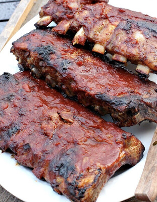 Texas Style Smoked pork back Ribs (each package with sauce/ 1.5-1.8 lb)/ 德州烤排骨 (一包1.5-1.8磅,配酱汁,自行翻热)