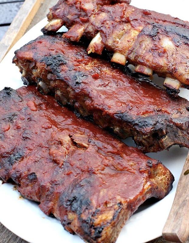 Texas Style Smoked pork back Ribs (each package with sauce/ 1.5-1.8 lb)/ 德州烤排骨 (一包1.5-1.8磅,配酱汁,自行翻热)