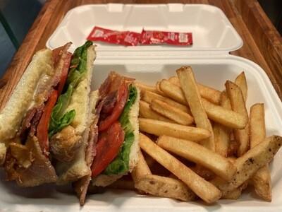 BLT sandwich with Fries / 培根生菜番茄三明治配薯条