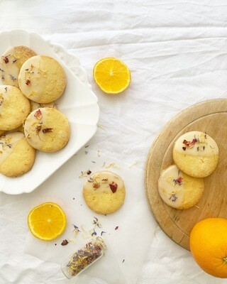 Orange & Polenta Floral Biscuits