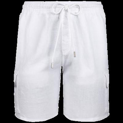 Baie Men Linen Bermuda Shorts Cargo Pockets