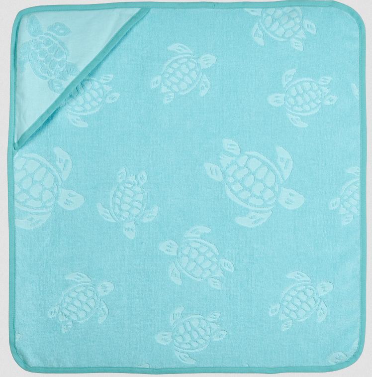 Santou Baby Bathing Cape In Cotton Turtle Jacquard