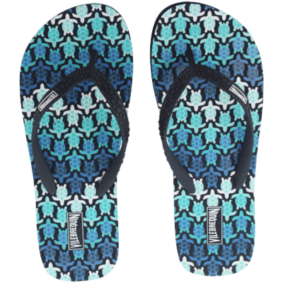 Copp Men Flip Flop Herringbones Turtles In Blue