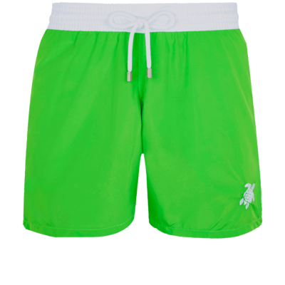 Moxe Men Swim Trunks Ultra-light And Packable Solid Bicolore Fluo In Green