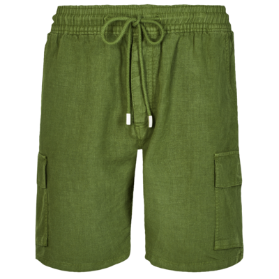 Baie Men Cargo Linen Bermuda Shorts Solid
