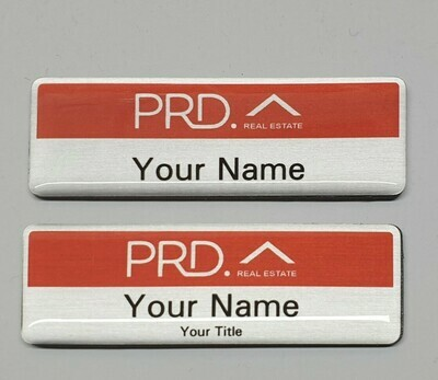PRD Corporate Name Badge - Real Estate Logo | Silver Metal