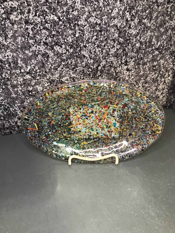 6x9 Rainbow Glass Platter