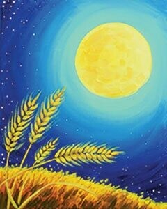 """Zoom Art Class: (Suggested ages 18 and up!) """"Harvest Moon"""" Aug 14th"""
