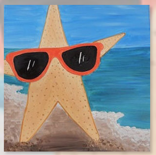 "Zoom Art Class: Kids, Teens, & Everyone In Between ""Stylin' Starfish"" August 15th"
