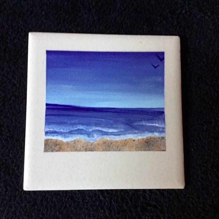 """Zoom Art Class: Polaroid 4"""" Ceramic Tile """"Ocean Beach""""- Tuesday Aug 18th @7pm"""