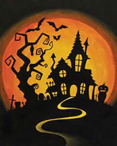 Zoom Art Class:  Monday Oct. 19th: Hilltop Haunt (5:30-7:30pm)
