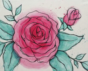 "Zoom Art Class: ""Watercolor Rose""  Feb. 5th (6-9pm)"
