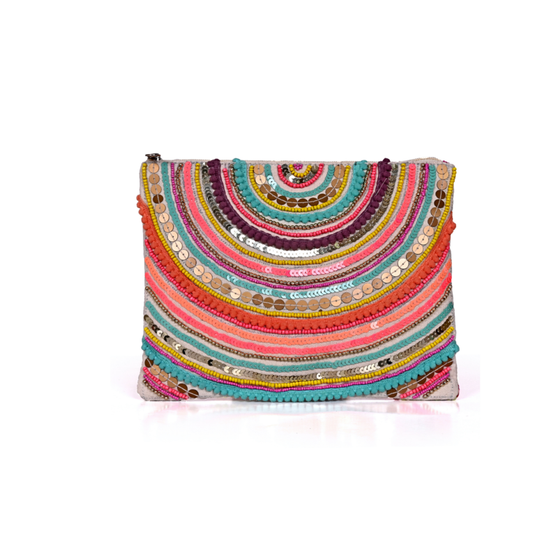 Embroidered Clutch Bag with Strap