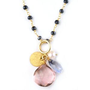 Pink & Blue Topaz Charm Necklace