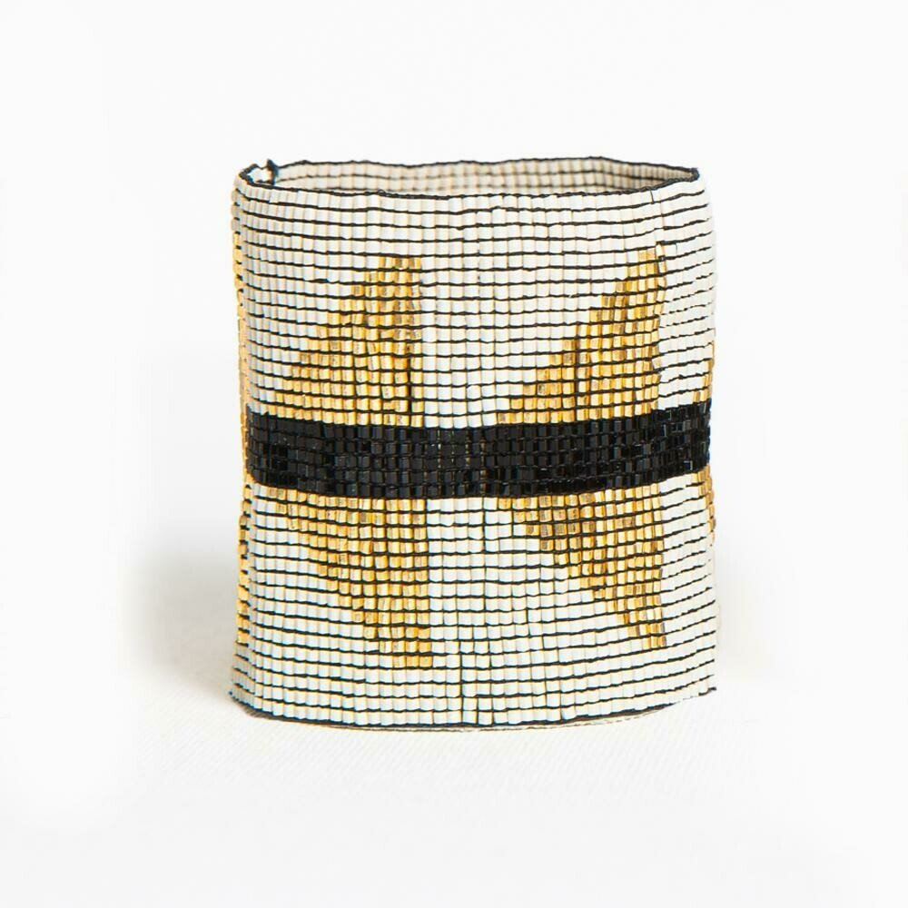 Gold & White Beaded Cuff