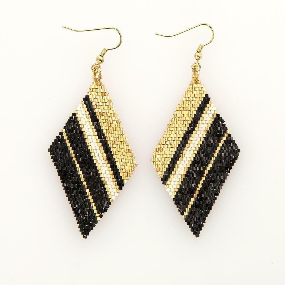 Gold & Black Beaded Diamond Shape Earrings