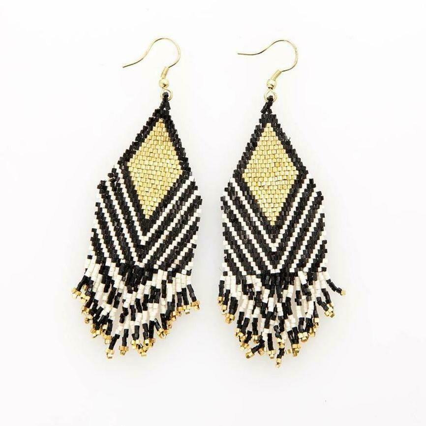 Beaded Black & Gold Striped Earrings