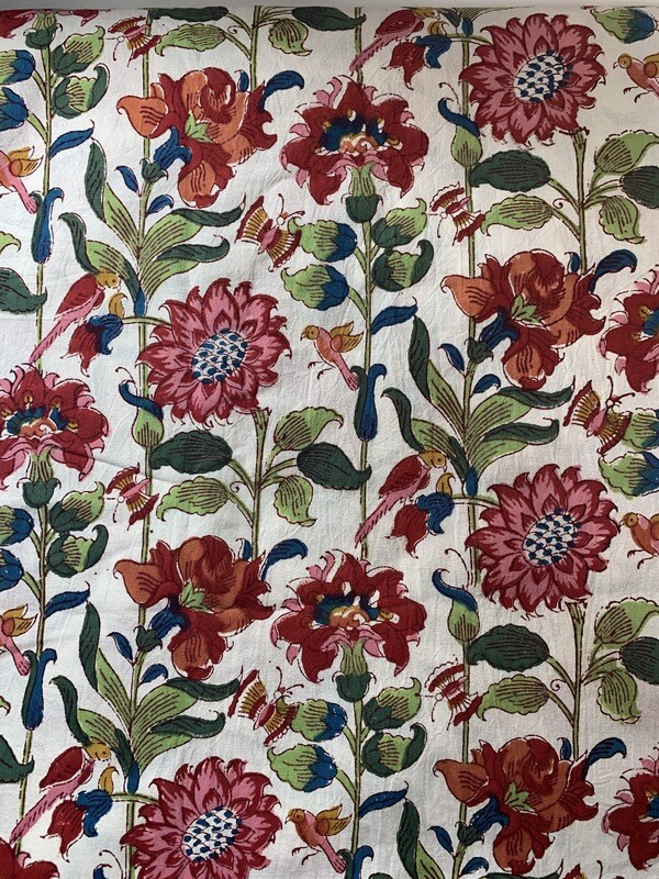 Hand Blocked Floral Table Cloth