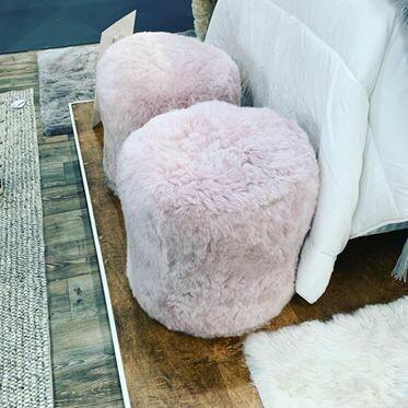 Pink Sheepskin Pouf