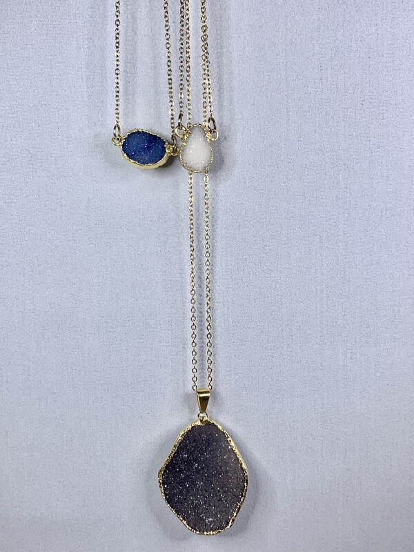 Amethyst Druzy Pendant Necklace