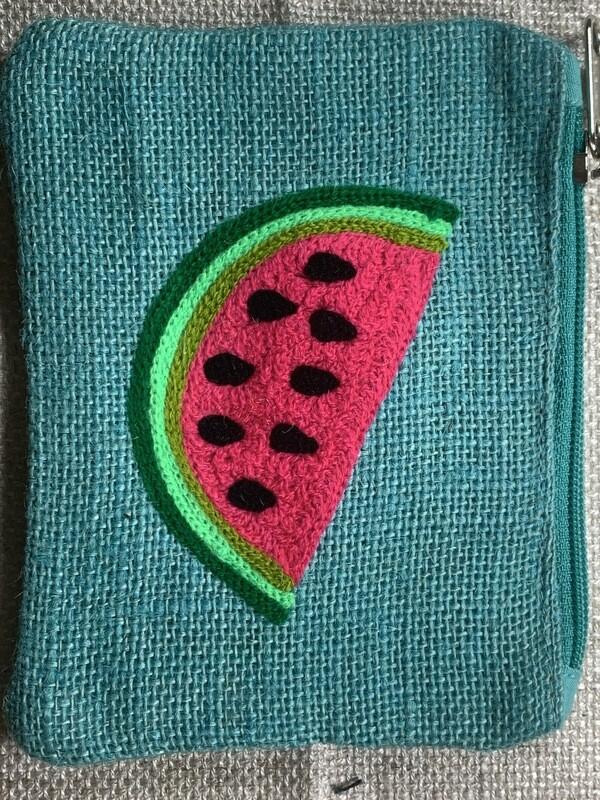 Watermelon Jute Coin Purse