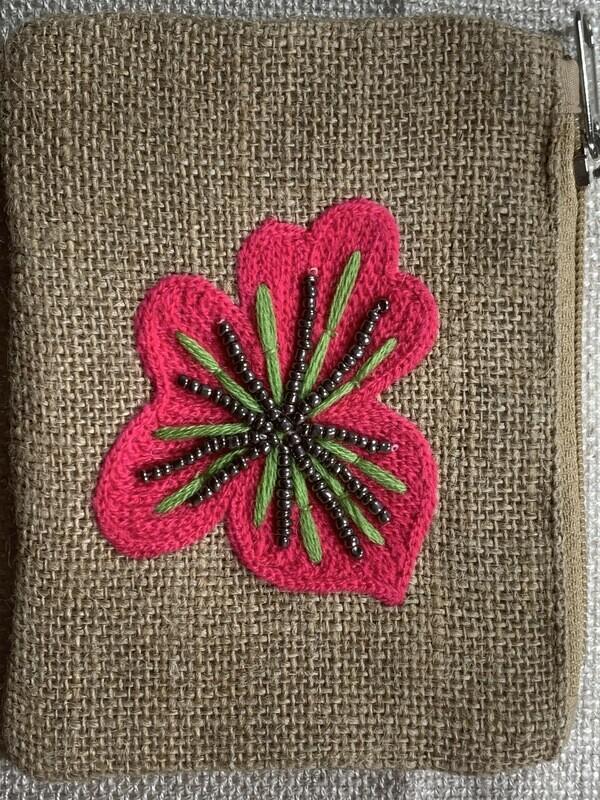 Flower Jute Coin Purse